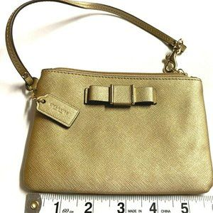 Coach Darcy Bow Small Wristlet F51672 Gold WALLET